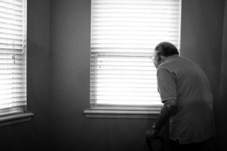 Old person window BW