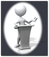 Podium speaker graphic