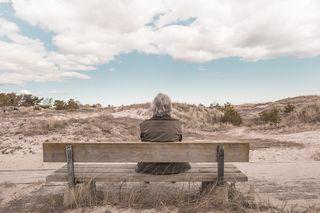 Beach bench behind