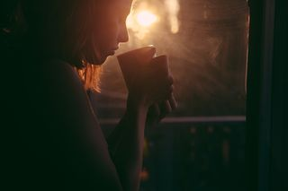 Woman coffee dark